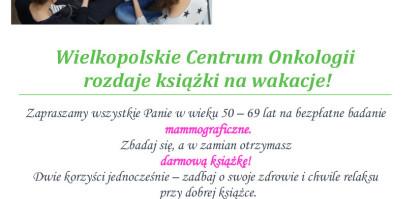 """Wielkopolskie Centrum Onkologii rozdaje książki na wakacje  na hasło """"książka za badan..."""