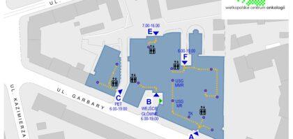 Aktualna mapa z wejściami dedykowanymi naszym Pacjentom i Personelowi