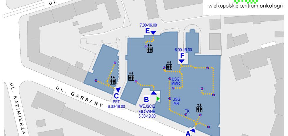 Mapa wejść dla Pacjentów i Personelu