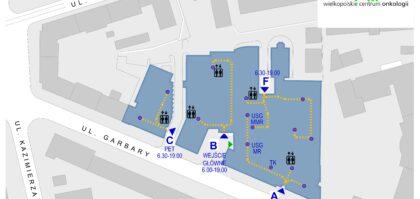 Aktualna mapa wejść dla Pacjentów i Personelu