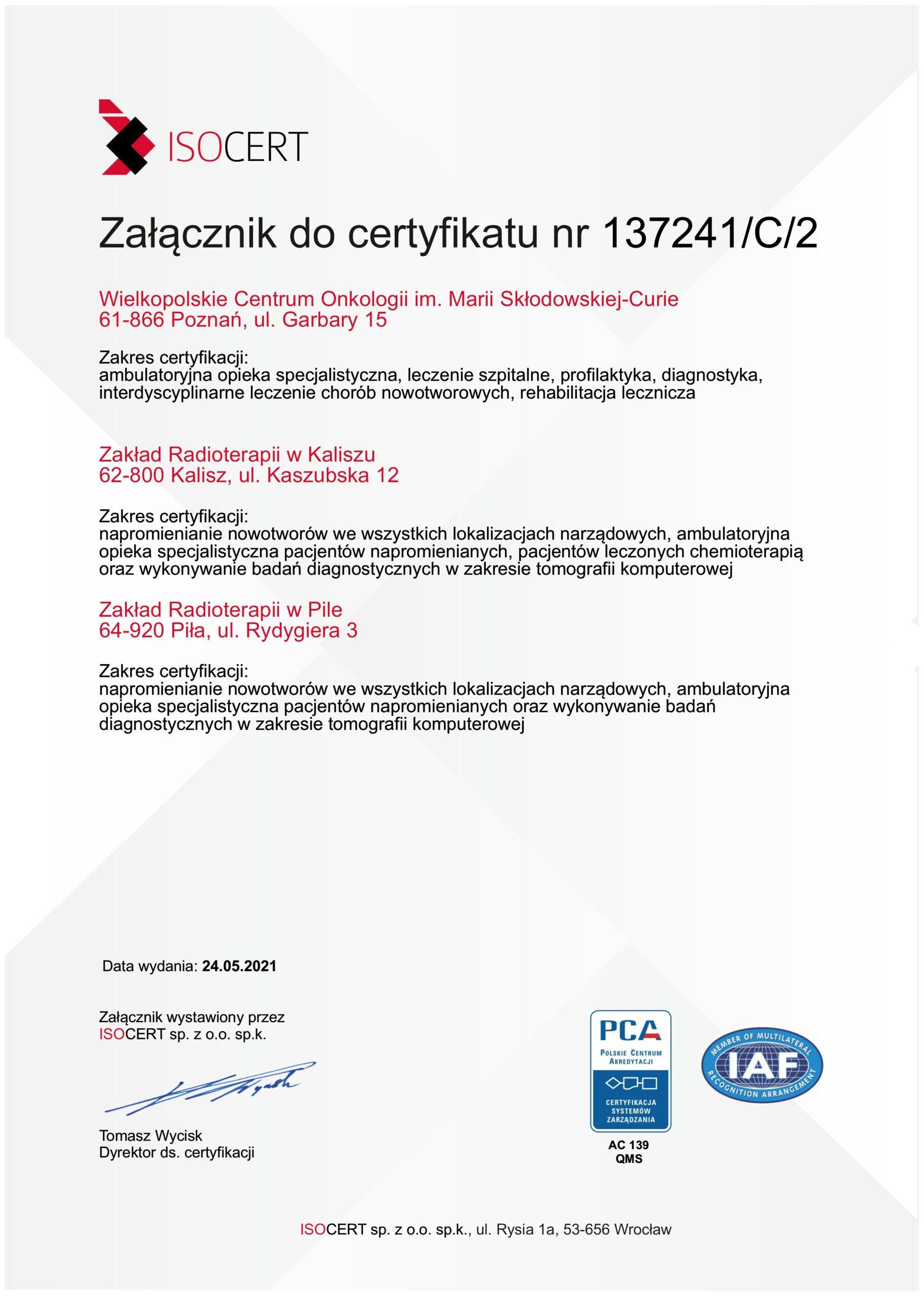 Certyfikat Systemu Zarządzania część 2