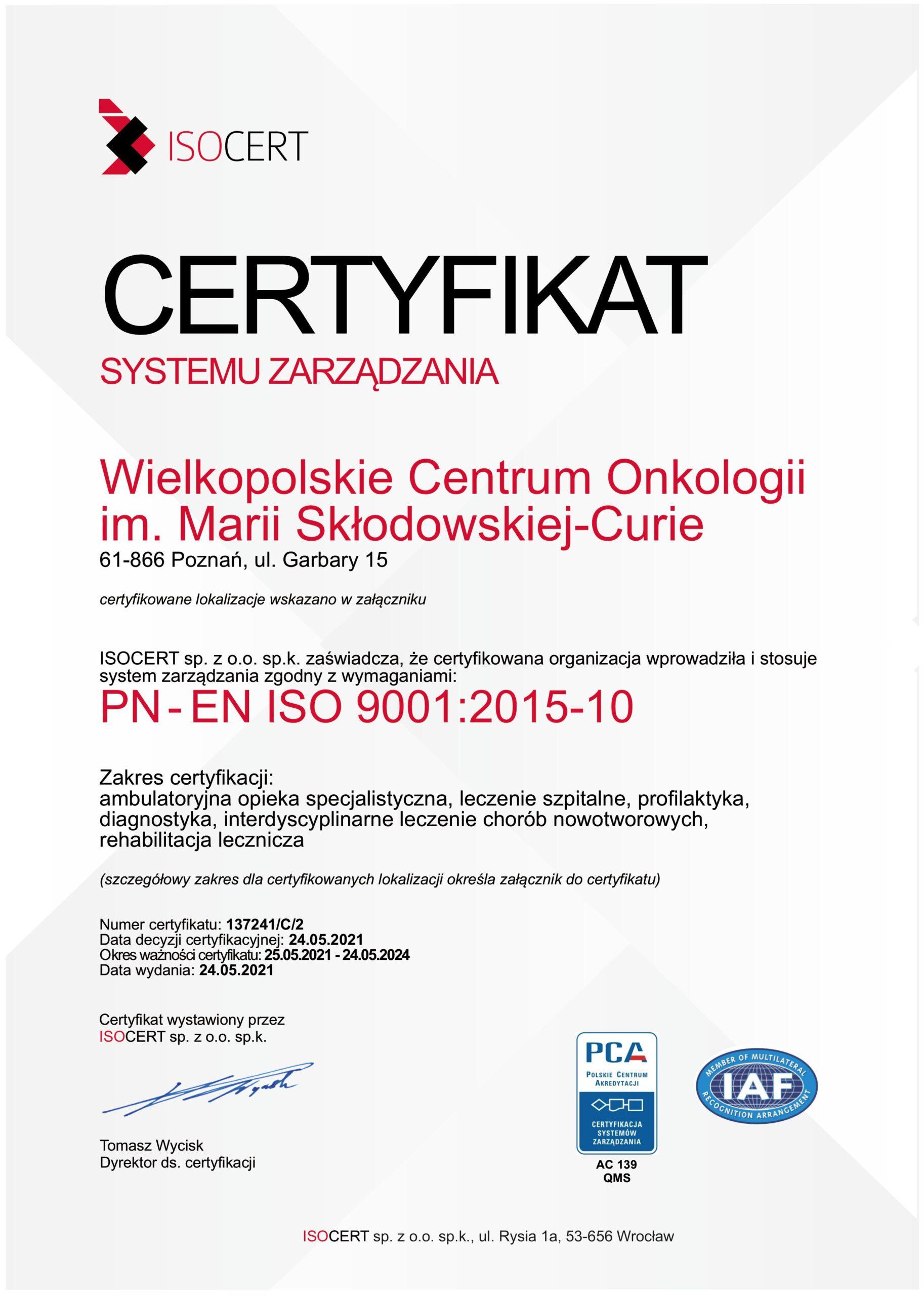 Certyfikat Systemu Zarządzania